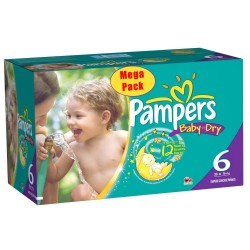 Maxi Pack 152 Couches Pampers Baby Dry taille 6+