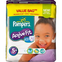 Pack 48 Couches Pampers Active Fit taille 5+ sur 123 Couches