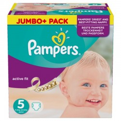Maxi Pack 225 Couches de Pampers Active Fit taille 5 sur 123 Couches