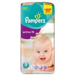 Pack de 62 Couches Pampers Active Fit de taille 3 sur 123 Couches