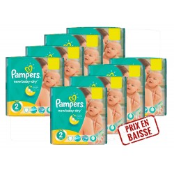 Maxi Mega pack 408 Couches Pampers New Baby Dry 2