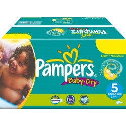 Giga Pack 164 Couches Pampers Baby Dry 5 sur 123 Couches