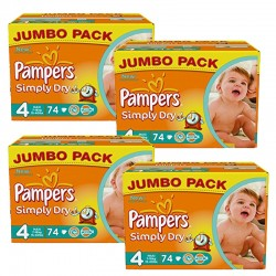 Pack économique 294 Couches Pampers Simply Dry 4 sur 123 Couches