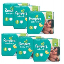 Maxi Giga Pack 301 Couches Pampers Baby Dry 5+ sur 123 Couches
