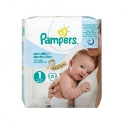 Pack 21 Couches Pampers New Baby Sensitive taille 1 sur 123 Couches