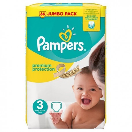 Pquet 50 Couches Pampers Premium Protection taille 3 sur 123 Couches