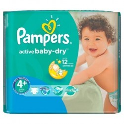 Pack 18 Couches Pampers Active Baby Dry taille 4+