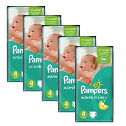 Maxi Giga pack 294 Couches Pampers Active Baby Dry taille 4 sur 123 Couches