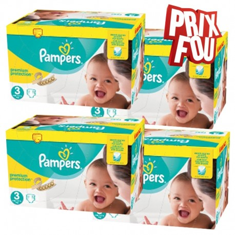 Pack Jumeaux 650 Couches Pampers Premium Protection - New Baby taille 3 sur 123 Couches