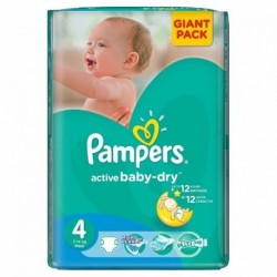 Pack 90 Couches Pampers Active Baby Dry taille 4+