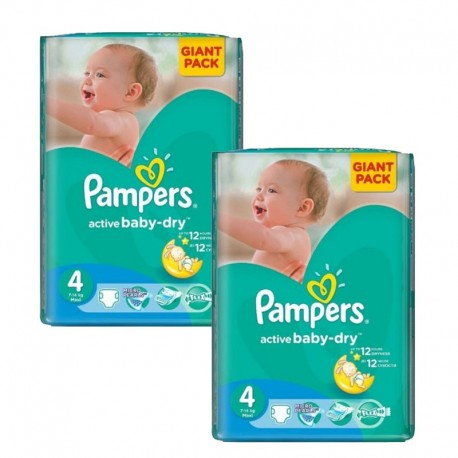 Mega Pack 270 Couches Pampers Active Baby Dry taille 4 sur 123 Couches