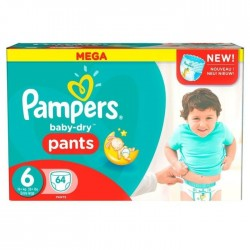 Pack 64 Couches Pampers Baby Dry Pants taille 6+ sur 123 Couches