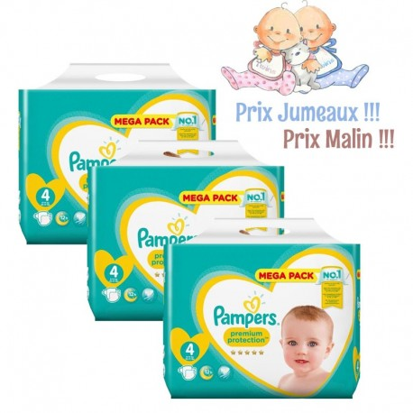 Pack Jumeaux 468 Couches Pampers New Baby - Premium Protection taille 4 sur 123 Couches