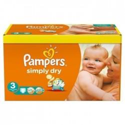 Pack d'une quantité de 52 Couches Pampers Simply Dry de taille 3 sur 123 Couches