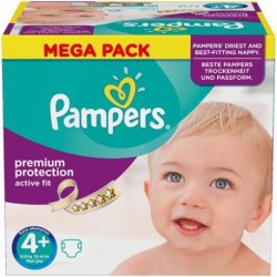 Pack 62 Couches Pampers Active Fit taille 4+