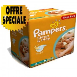 Maxi Giga Pack 432 Couches Pampers Sleep & Play taille 4 sur 123 Couches