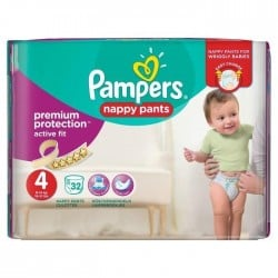 Pack 32 Couches Pampers Active Fit Pants taille 4 sur 123 Couches