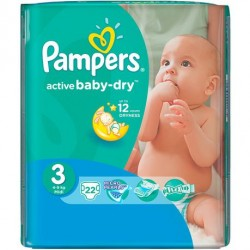 Pack 22 Couches Pampers Active Baby Dry taille 3 sur 123 Couches