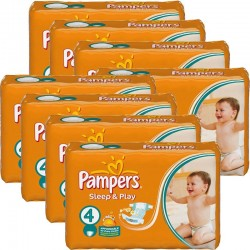 Giga Pack 540 Couches Pampers Sleep & Play taille 4 sur 123 Couches