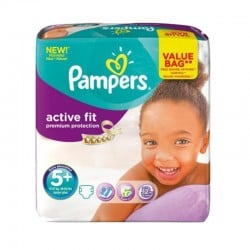 Pack 32 Couches Pampers Active Fit - Premiun Protection taille 5+ sur 123 Couches