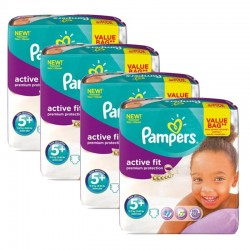 Maxi Giga Pack 128 Couches Pampers Active Fit - Premium Protection taille 5+ sur 123 Couches