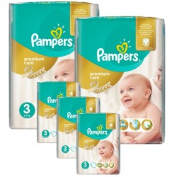 Maxi Giga Pack 340 Couches Pampers Premium Care - Prima taille 3