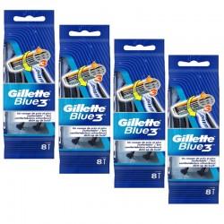 Lot de 4 Packs Gillette Blue3 Rasoirs Jetables 8 pc.Edition Football