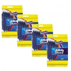 Lot de 4 Packs Gillette BlueII Rasoirs Jetables 20 pc. sur 123 Couches