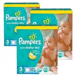 Giga Pack 216 Couches Pampers Active Baby Dry taille 3