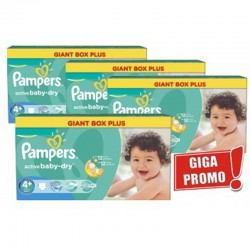 Maxi Pack 576 Couches Pampers Active Baby Dry taille 4+ sur 123 Couches