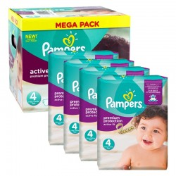 Mega Pack 504 Couches Pampers Active Fit - Premium Protection taille 4 sur 123 Couches