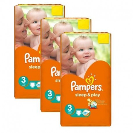 Maxi Pack 246 Couches Pampers Sleep & Play taille 3 sur 123 Couches