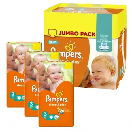 Mega Pack 328 Couches Pampers Sleep & Play taille 3 sur 123 Couches