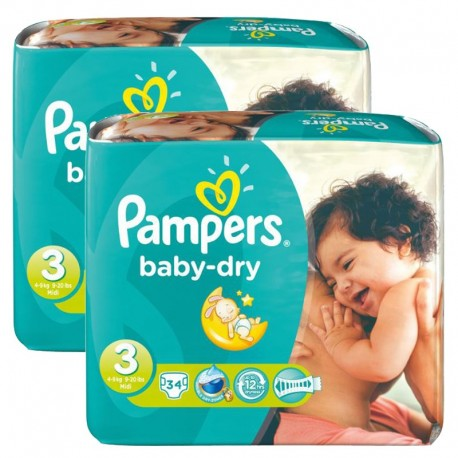 Maxi Pack 170 Couches Pampers Baby Dry taille 3 sur 123 Couches