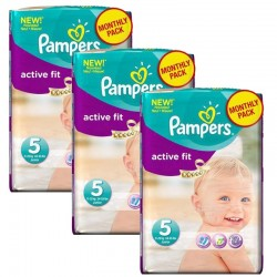 Maxi Pack 282 Couches Pampers Active Fit taille 5 sur 123 Couches