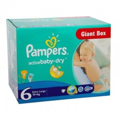 Mega pack 126 Couches Pampers Active Baby Dry taille 6 sur 123 Couches