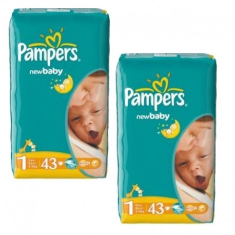 Pack 86 Couches Pampers New Baby Dry taille 1 sur 123 Couches