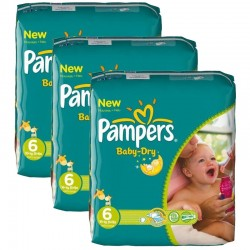 Pack 132 Couches Pampers Baby Dry taille 6