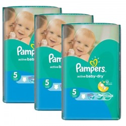 Mega Pack 264 Couches Pampers Active Baby Dry taille 5 sur 123 Couches