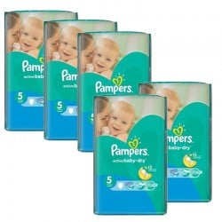 Mega Pack 352 Couches Pampers Active Baby Dry taille 5 sur 123 Couches