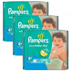 Mega Pack 140 Couches Pampers Active Baby Dry taille 4+ sur 123 Couches