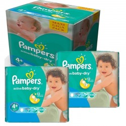 Mega Pack 280 Couches Pampers Active Baby Dry taille 4+ sur 123 Couches