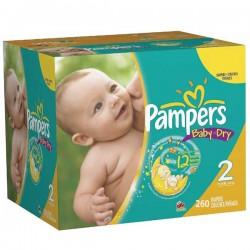 Pack d'une quantité de 260 Couches Pampers Baby Dry de taille 2 sur 123 Couches