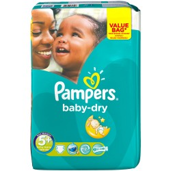 Pack 56 Couches Pampers Baby Dry taille 5+ sur 123 Couches