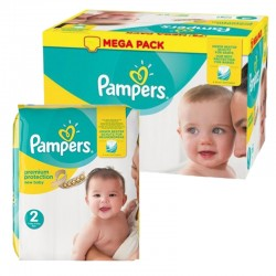 Mega pack 124 Couches Pampers New Baby Premium Protection taille 2 sur 123 Couches