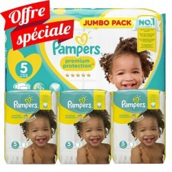 Mega pack 140 Couches Pampers New Baby Premium Protection taille 5 sur 123 Couches