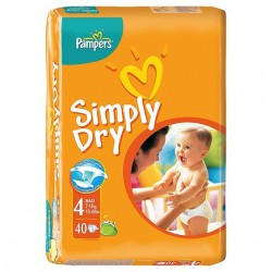 Pack 40 Couches Pampers Simply Dry de taille 4 sur 123 Couches