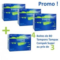 Pack économique de 320 Tampons Tampax Compak - 4 au prix de 3 taille SuperavecApplicateur sur 123 Couches