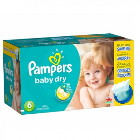 Pack 124 Couches Pampers Baby Dry taille 6 sur 123 Couches