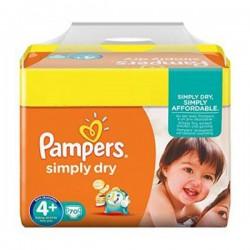 Pack d'une quantité de 70 Couches Pampers Simply Dry taille 4+ sur 123 Couches